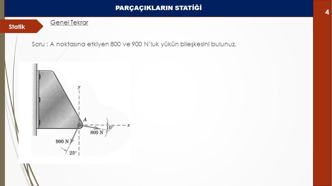 Soru : A noktasına etkiyen 800 ve 900 N'luk yükün bileşkesini bulunuz. Statik Genel Tekrar PARÇAÇIKLARIN STATİĞİ 4