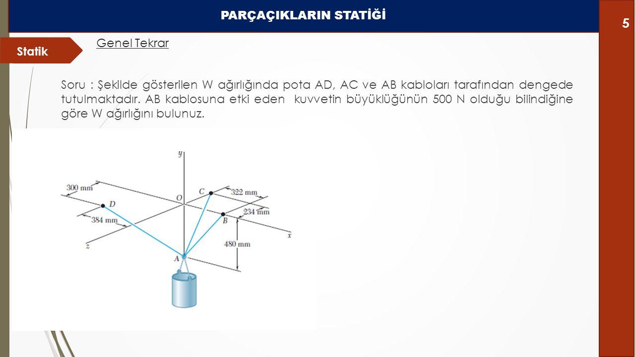 Soru : Şekilde gösterilen W ağırlığında pota AD, AC ve AB kabloları tarafından dengede tutulmaktadır. AB kablosuna etki eden kuvvetin büyüklüğünün 500