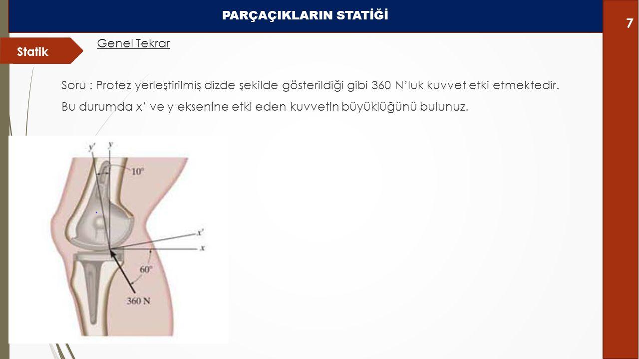 Soru : Protez yerleştirilmiş dizde şekilde gösterildiği gibi 360 N'luk kuvvet etki etmektedir. Bu durumda x' ve y eksenine etki eden kuvvetin büyüklüğ