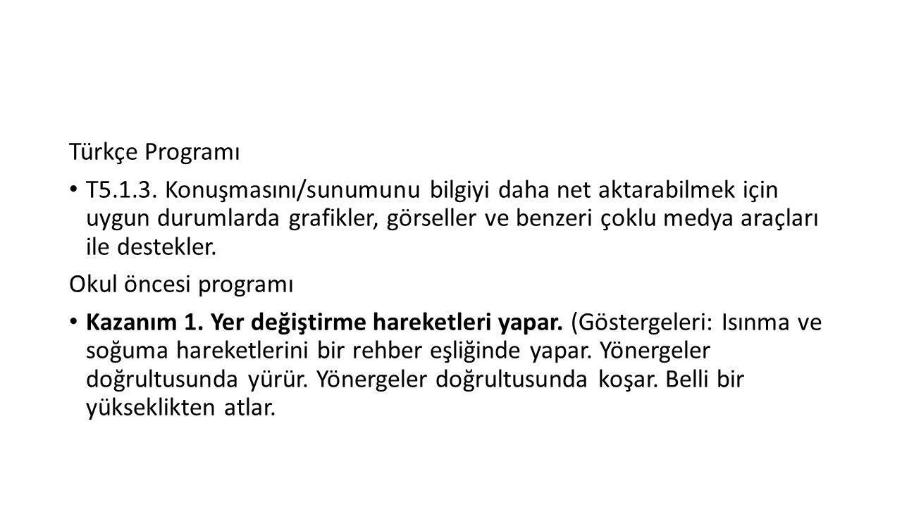 Türkçe Programı T5.1.3. Konuşmasını/sunumunu bilgiyi daha net aktarabilmek için uygun durumlarda grafikler, görseller ve benzeri çoklu medya araçları