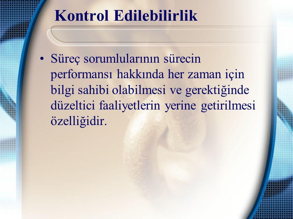 Kontrol Edilebilirlik Süreç sorumlularının sürecin performansı hakkında her zaman için bilgi sahibi olabilmesi ve gerektiğinde düzeltici faaliyetlerin yerine getirilmesi özelliğidir.