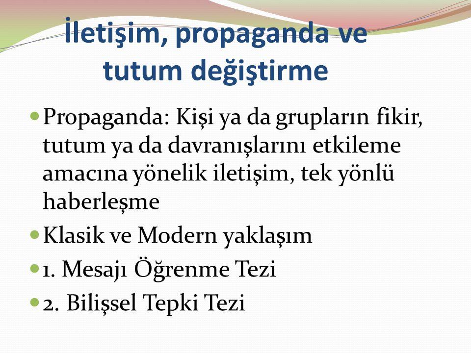 İletişim, propaganda ve tutum değiştirme Propaganda: Kişi ya da grupların fikir, tutum ya da davranışlarını etkileme amacına yönelik iletişim, tek yönlü haberleşme Klasik ve Modern yaklaşım 1.