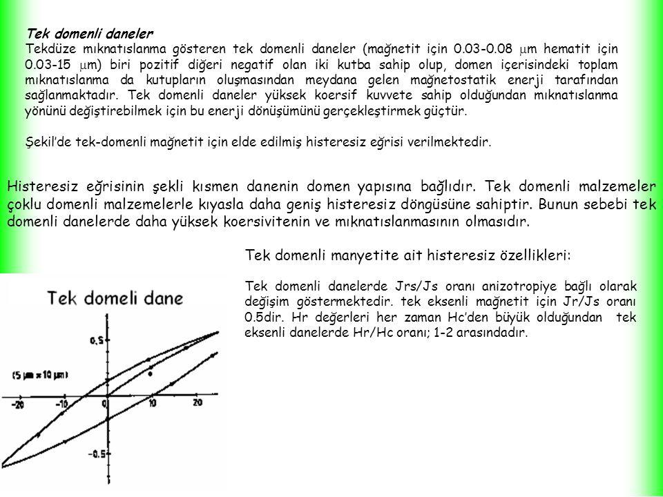 Tek domenli daneler Tekdüze mıknatıslanma gösteren tek domenli daneler (mağnetit için 0.03-0.08  m hematit için 0.03-15  m) biri pozitif diğeri negatif olan iki kutba sahip olup, domen içerisindeki toplam mıknatıslanma da kutupların oluşmasından meydana gelen mağnetostatik enerji tarafından sağlanmaktadır.