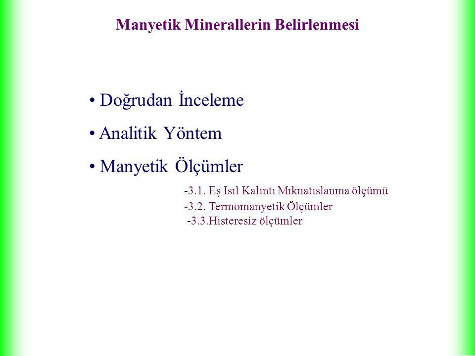 Manyetik Minerallerin Belirlenmesi Doğrudan İnceleme Analitik Yöntem Manyetik Ölçümler -3.1.