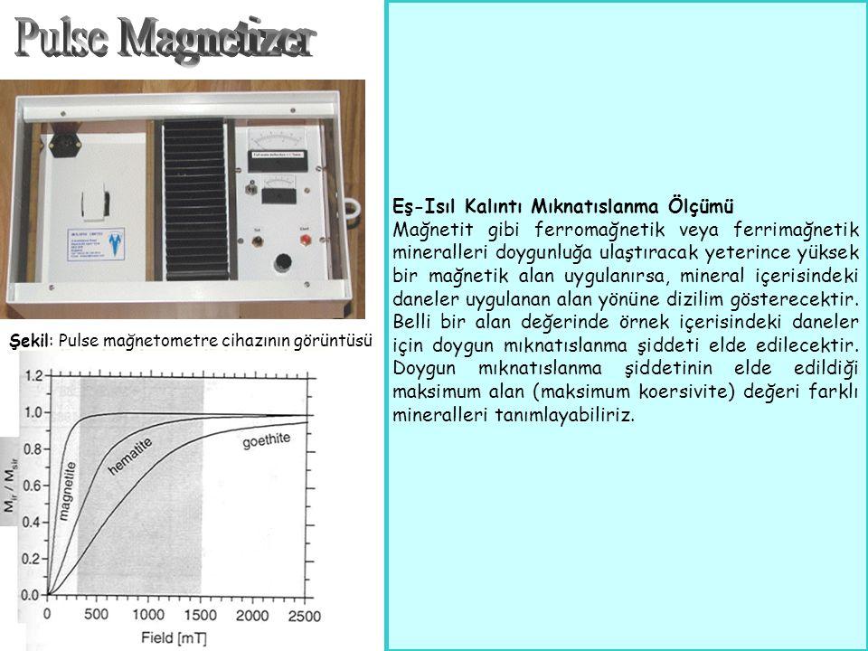 Şekil: Pulse mağnetometre cihazının görüntüsü Eş-Isıl Kalıntı Mıknatıslanma Ölçümü Mağnetit gibi ferromağnetik veya ferrimağnetik mineralleri doygunluğa ulaştıracak yeterince yüksek bir mağnetik alan uygulanırsa, mineral içerisindeki daneler uygulanan alan yönüne dizilim gösterecektir.