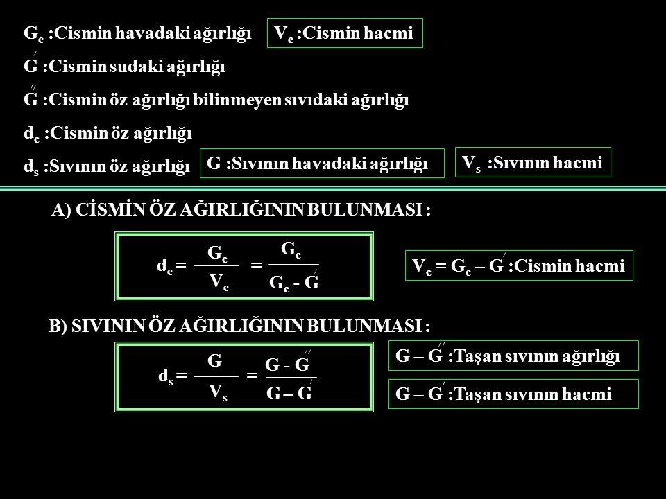 A) CİSMİN ÖZ AĞIRLIĞININ BULUNMASI : G c :Cismin havadaki ağırlığı G :Cismin sudaki ağırlığı G :Cismin öz ağırlığı bilinmeyen sıvıdaki ağırlığı d c :C