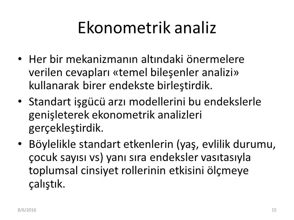 Ekonometrik analiz Her bir mekanizmanın altındaki önermelere verilen cevapları «temel bileşenler analizi» kullanarak birer endekste birleştirdik.