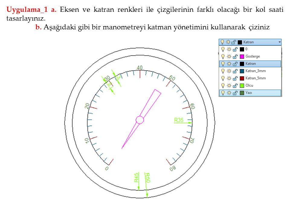 Uygulama_1 a. Eksen ve katran renkleri ile çizgilerinin farklı olacağı bir kol saati tasarlayınız. b. Aşağıdaki gibi bir manometreyi katman yönetimini