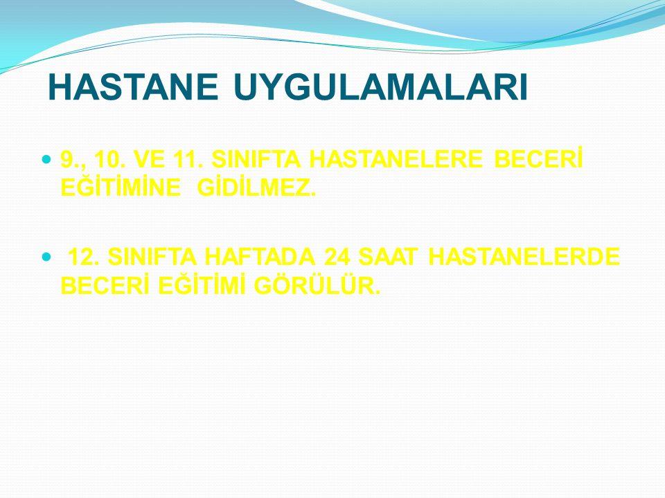 HASTANE UYGULAMALARI 9., 10. VE 11. SINIFTA HASTANELERE BECERİ EĞİTİMİNE GİDİLMEZ.