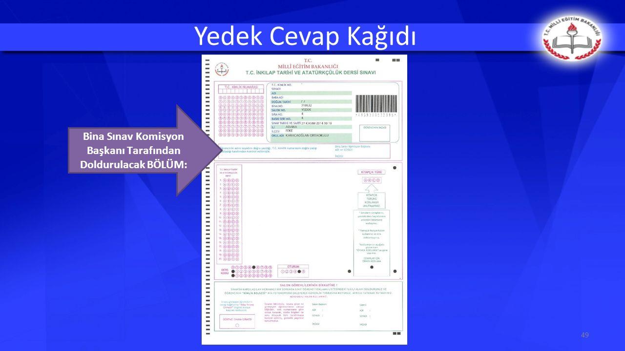 Yedek Cevap Kağıdı 49 Bina Sınav Komisyon Başkanı Tarafından Doldurulacak BÖLÜM:
