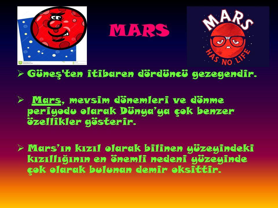 MARS  Güneş ten itibaren dördüncü gezegendir.