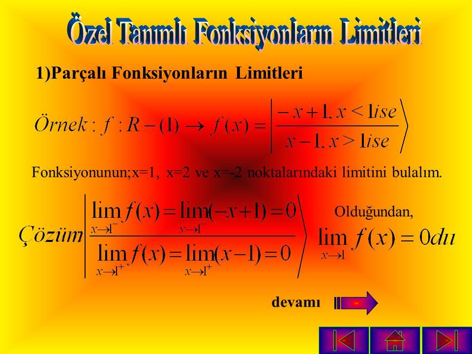 1)Parçalı Fonksiyonların Limitleri Fonksiyonunun;x=1, x=2 ve x=-2 noktalarındaki limitini bulalım.
