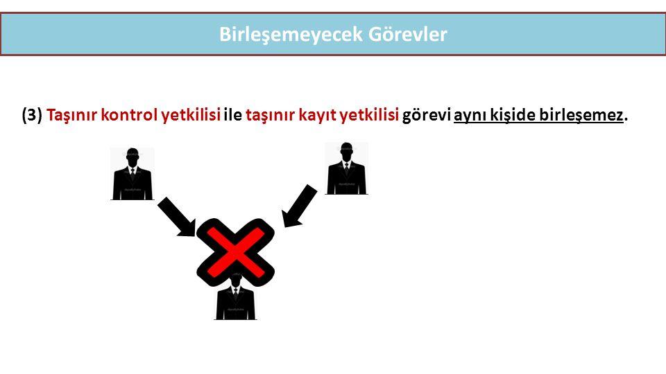 Birleşemeyecek Görevler (3) Taşınır kontrol yetkilisi ile taşınır kayıt yetkilisi görevi aynı kişide birleşemez.