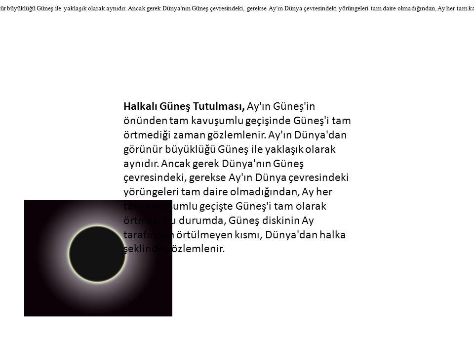 Halkalı Güneş Tutulması, Ay ın Güneş in önünden tam kavuşumlu geçişinde Güneş i tam örtmediği zaman gözlemlenir.