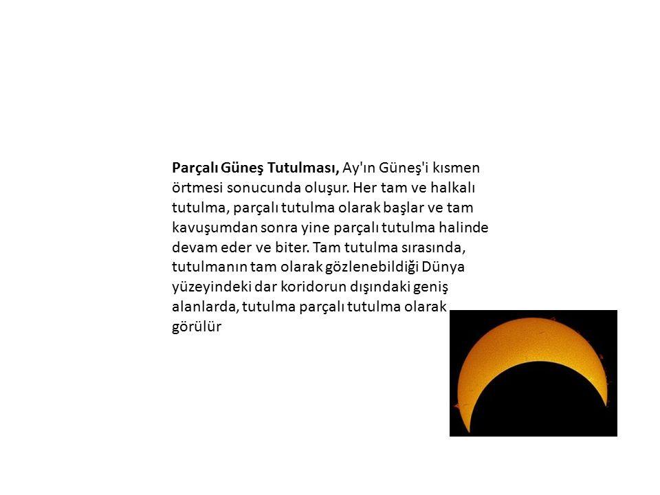 Parçalı Güneş Tutulması, Ay ın Güneş i kısmen örtmesi sonucunda oluşur.