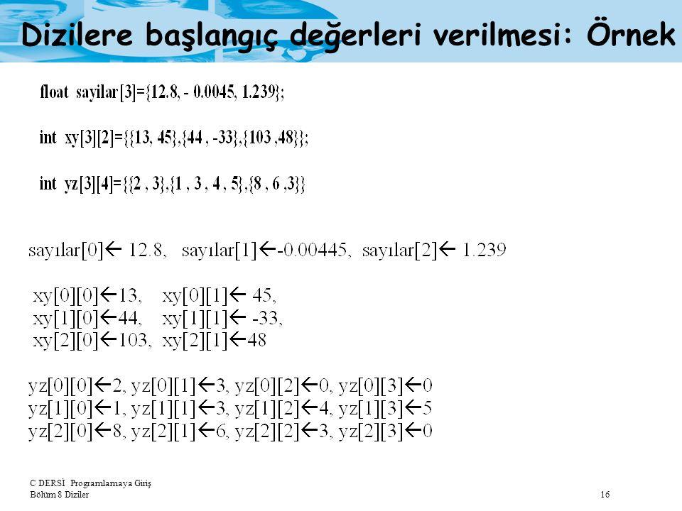 C DERSİ Programlamaya Giriş Bölüm 8 Diziler 16 Dizilere başlangıç değerleri verilmesi: Örnek