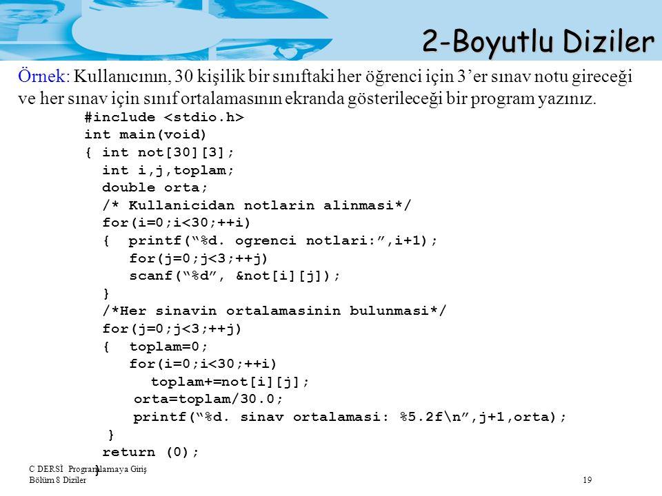 C DERSİ Programlamaya Giriş Bölüm 8 Diziler 19 2-Boyutlu Diziler Örnek: Kullanıcının, 30 kişilik bir sınıftaki her öğrenci için 3'er sınav notu girece