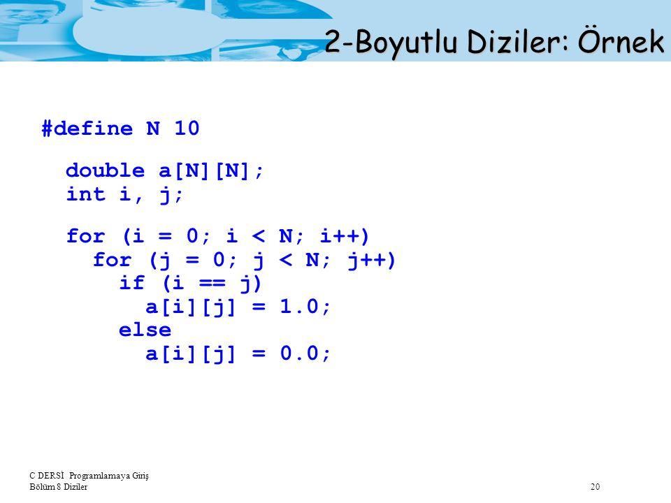 C DERSİ Programlamaya Giriş Bölüm 8 Diziler 20 2-Boyutlu Diziler: Örnek #define N 10 double a[N][N]; int i, j; for (i = 0; i < N; i++) for (j = 0; j <