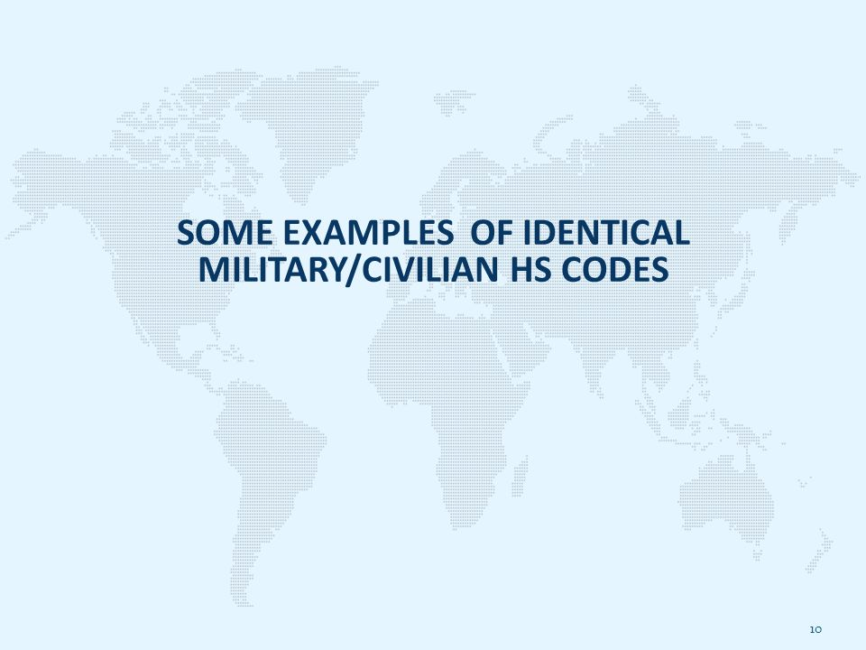 SOME EXAMPLES OF IDENTICAL MILITARY/CIVILIAN HS CODES 10