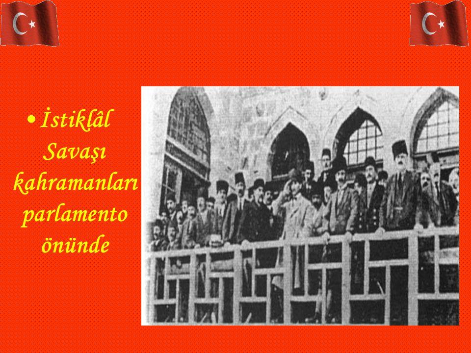 İstiklâl Savaşı kahramanları parlamento önünde
