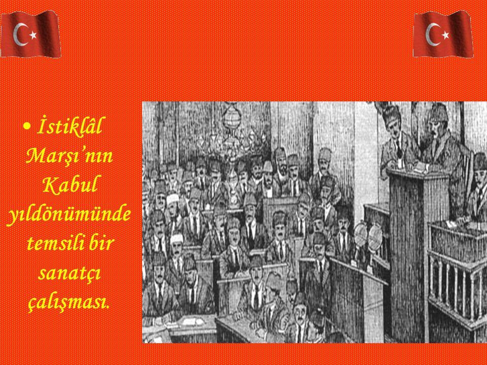 İstiklâl Marşı'nın Kabul yıldönümünde temsili bir sanatçı çalışması.