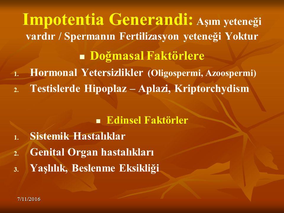 Impotentia Generandi: Aşım yeteneği vardır / Spermanın Fertilizasyon yeteneği Yoktur Doğmasal Faktörlere 1. 1. Hormonal Yetersizlikler (Oligospermi, A