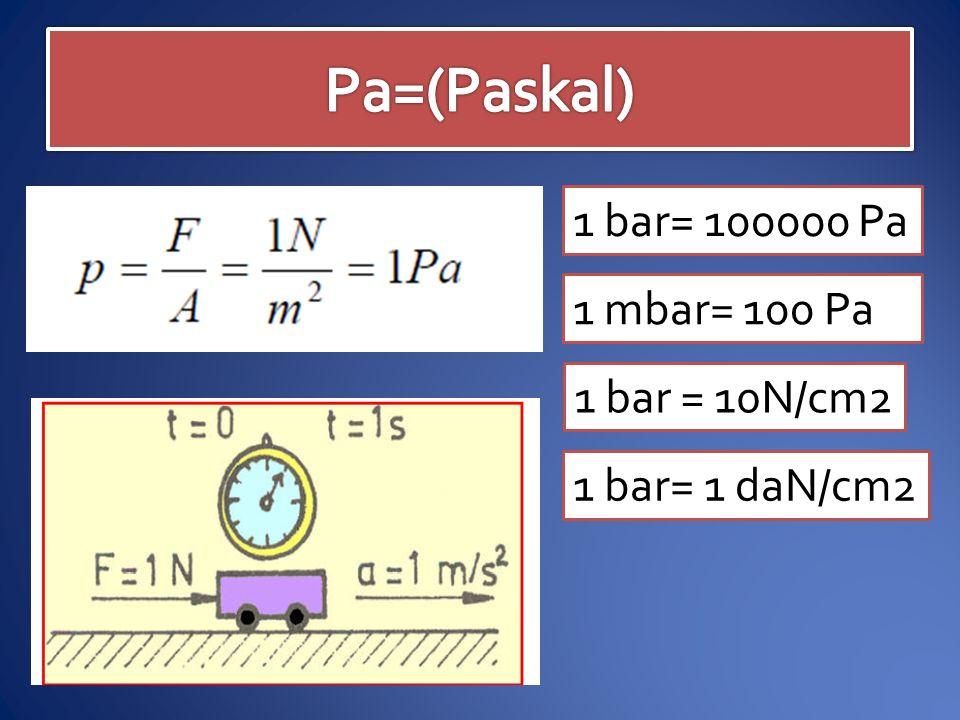 1 bar= 100000 Pa 1 mbar= 100 Pa 1 bar = 10N/cm2 1 bar= 1 daN/cm2