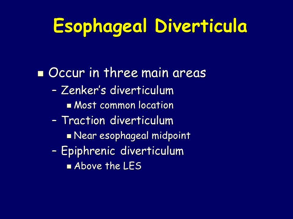 Esophageal Diverticula Esophageal Diverticula Occur in three main areas Occur in three main areas –Zenker's diverticulum Most common location Most com