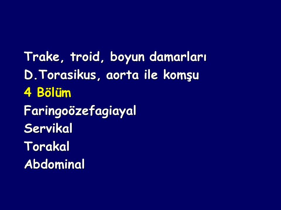 Özefagus seyri boyunca 3 darlık: Servikal(Krikoid kıkırdak altında) Servikal(Krikoid kıkırdak altında) Torakal(Sol ana bronş ve aorta) Torakal(Sol ana bronş ve aorta) Abdominal (D.