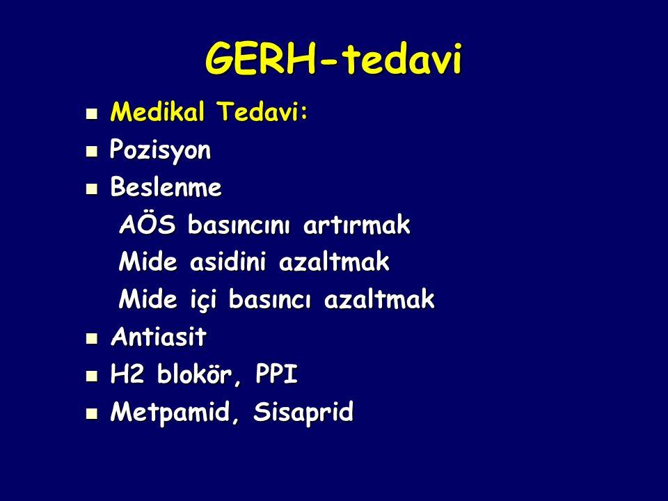 GERH-tedavi Medikal Tedavi: Medikal Tedavi: Pozisyon Pozisyon Beslenme Beslenme AÖS basıncını artırmak AÖS basıncını artırmak Mide asidini azaltmak Mi