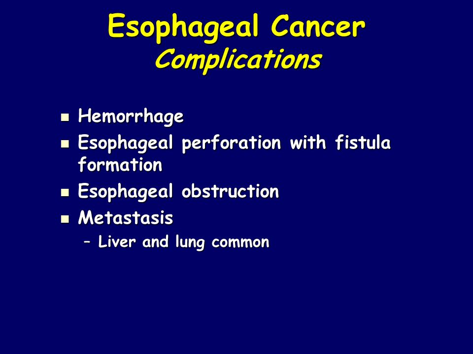 Esophageal Cancer Complications Hemorrhage Hemorrhage Esophageal perforation with fistula formation Esophageal perforation with fistula formation Esop