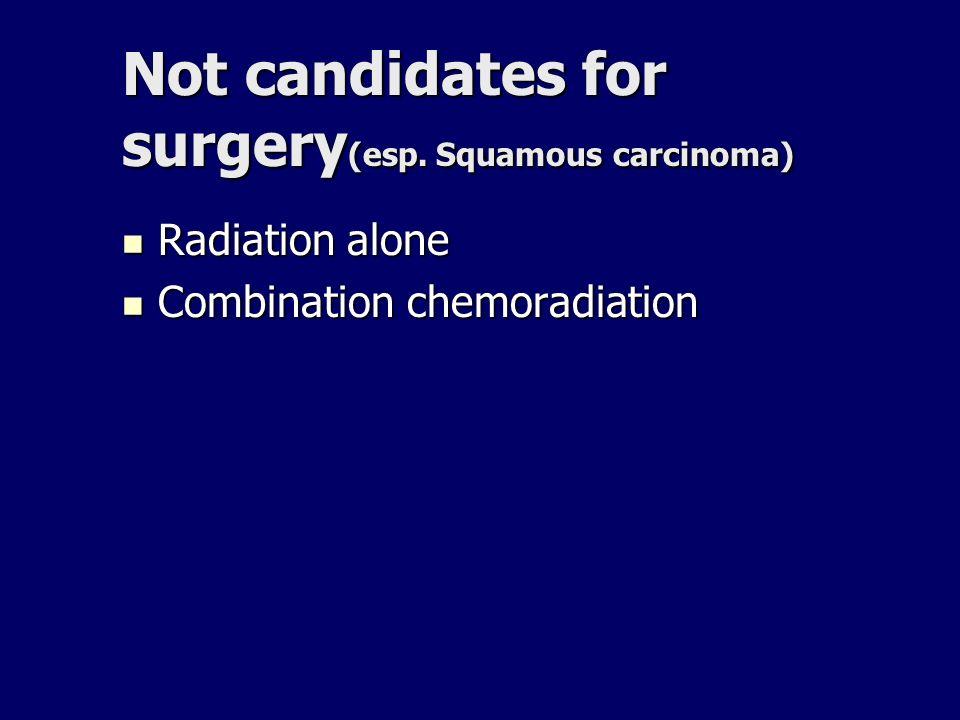 Not candidates for surgery (esp. Squamous carcinoma) Radiation alone Radiation alone Combination chemoradiation Combination chemoradiation
