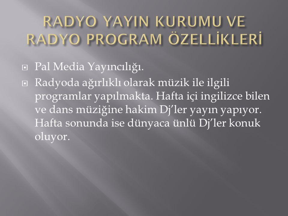  Pal Media Yayıncılığı.  Radyoda ağırlıklı olarak müzik ile ilgili programlar yapılmakta.