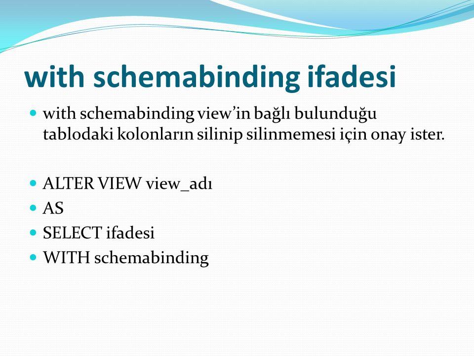 with schemabinding ifadesi with schemabinding view'in bağlı bulunduğu tablodaki kolonların silinip silinmemesi için onay ister.