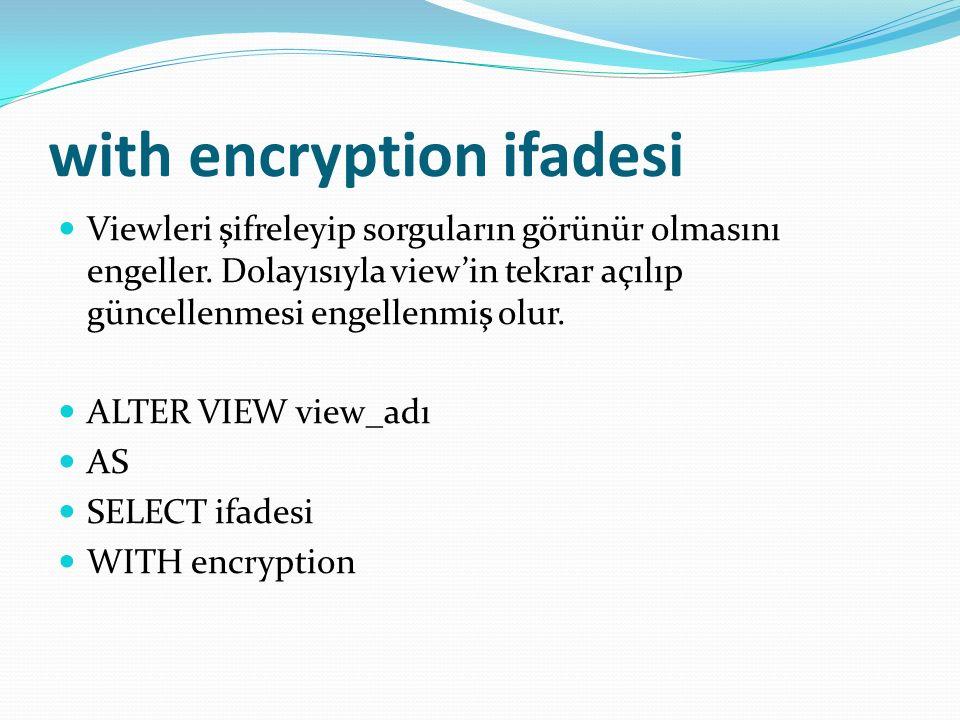 with encryption ifadesi Viewleri şifreleyip sorguların görünür olmasını engeller.