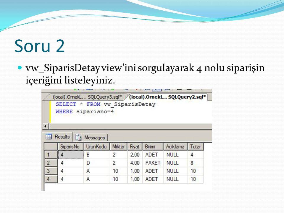 Soru 2 vw_SiparisDetay view'ini sorgulayarak 4 nolu siparişin içeriğini listeleyiniz.