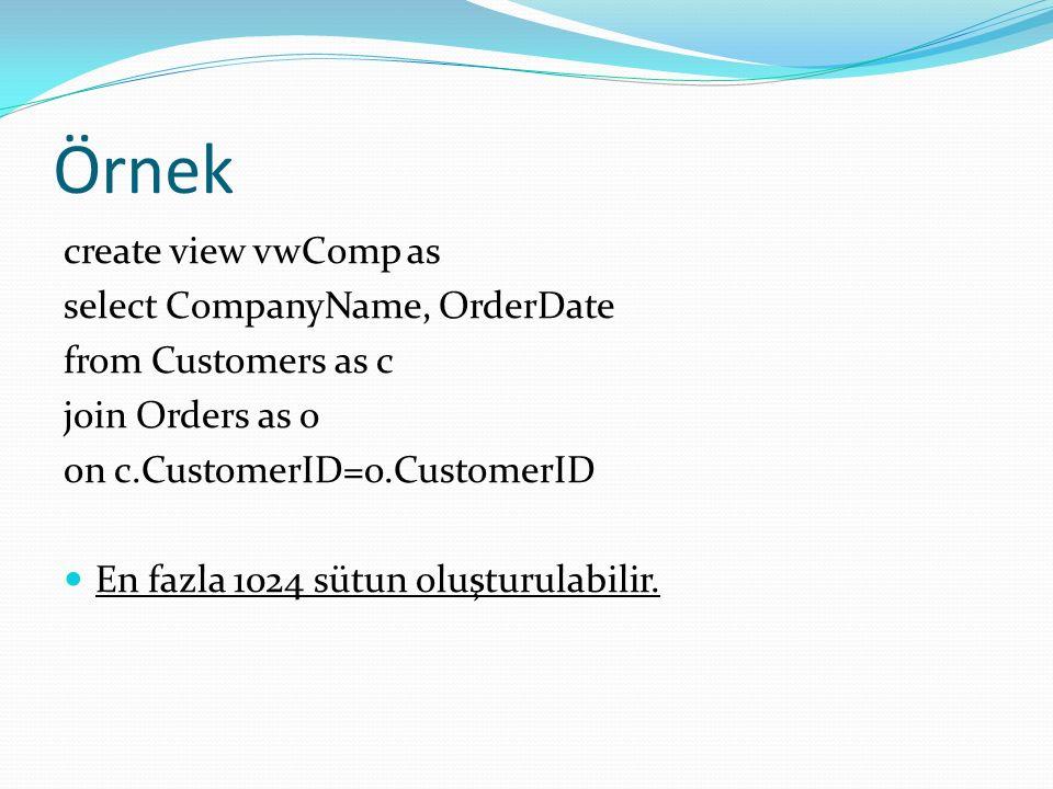 Örnek create view vwComp as select CompanyName, OrderDate from Customers as c join Orders as o on c.CustomerID=o.CustomerID En fazla 1024 sütun oluşturulabilir.