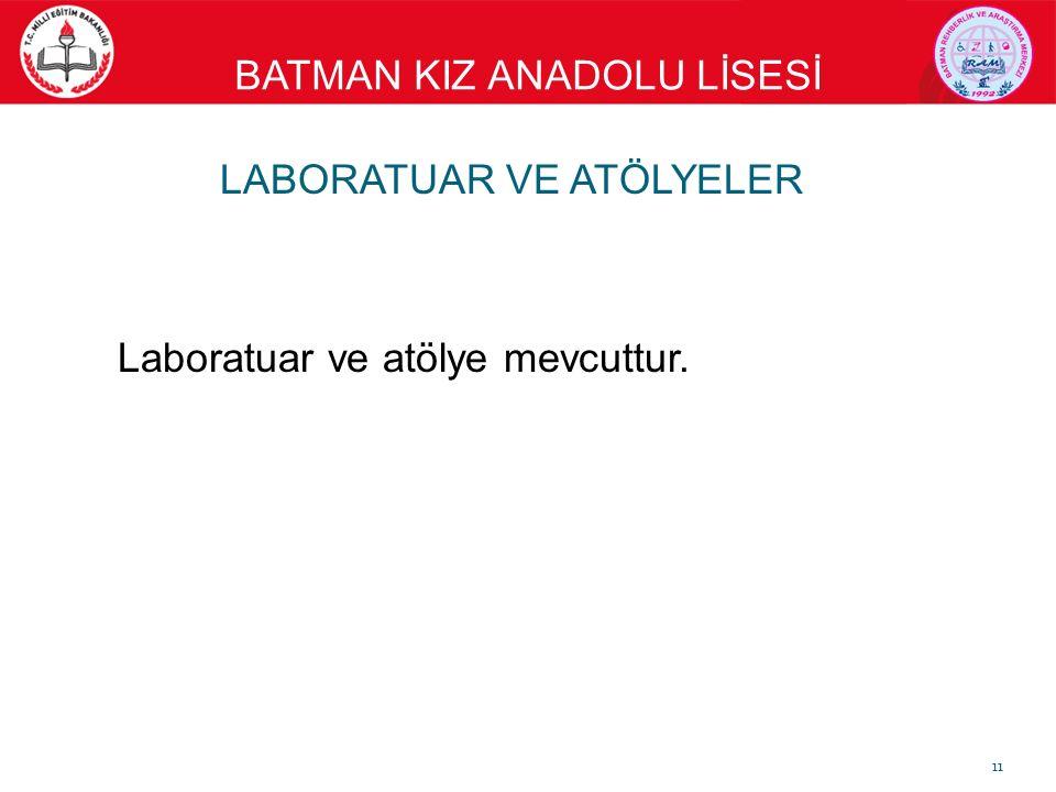 BATMAN KIZ ANADOLU LİSESİ LABORATUAR VE ATÖLYELER Laboratuar ve atölye mevcuttur. 11