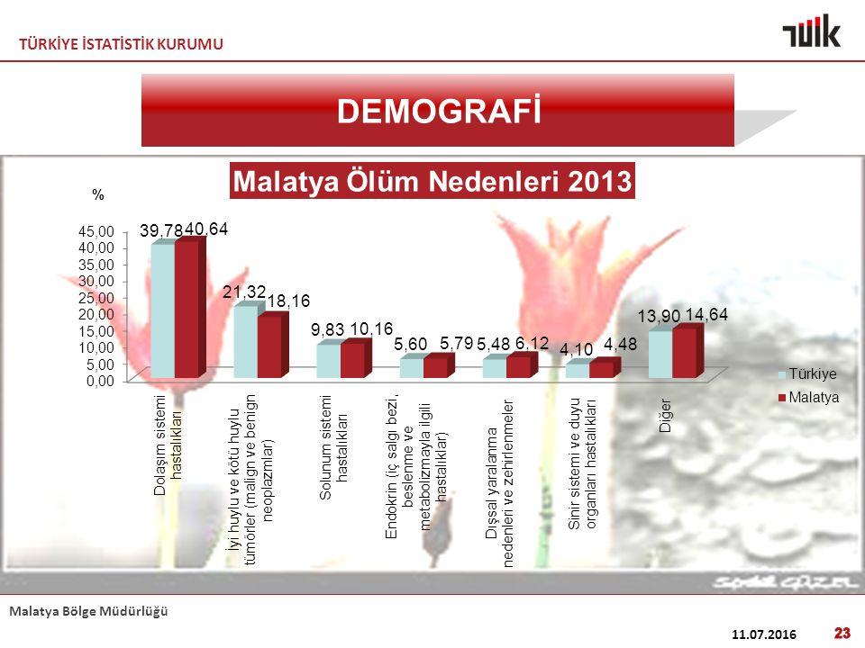 TÜRKİYE İSTATİSTİK KURUMU Malatya Bölge Müdürlüğü 11.07.2016 23 DEMOGRAFİ