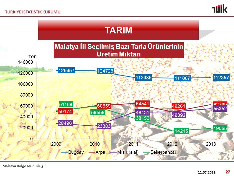 TÜRKİYE İSTATİSTİK KURUMU Malatya Bölge Müdürlüğü 11.07.2016 27 TARIM