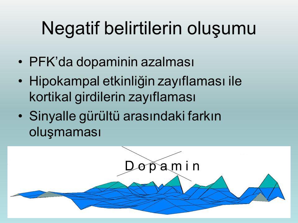 Negatif belirtilerin oluşumu PFK'da dopaminin azalması Hipokampal etkinliğin zayıflaması ile kortikal girdilerin zayıflaması Sinyalle gürültü arasında