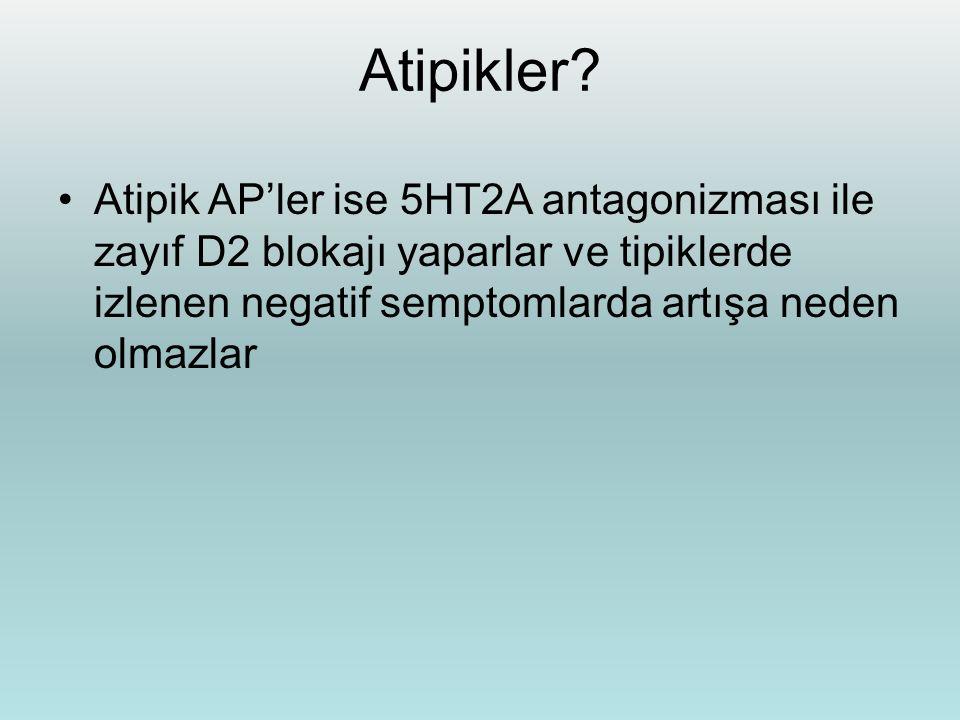 Atipikler? Atipik AP'ler ise 5HT2A antagonizması ile zayıf D2 blokajı yaparlar ve tipiklerde izlenen negatif semptomlarda artışa neden olmazlar