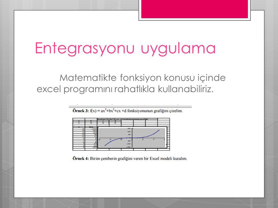 Entegrasyonu uygulama Matematikte fonksiyon konusu içinde excel programını rahatlıkla kullanabiliriz.