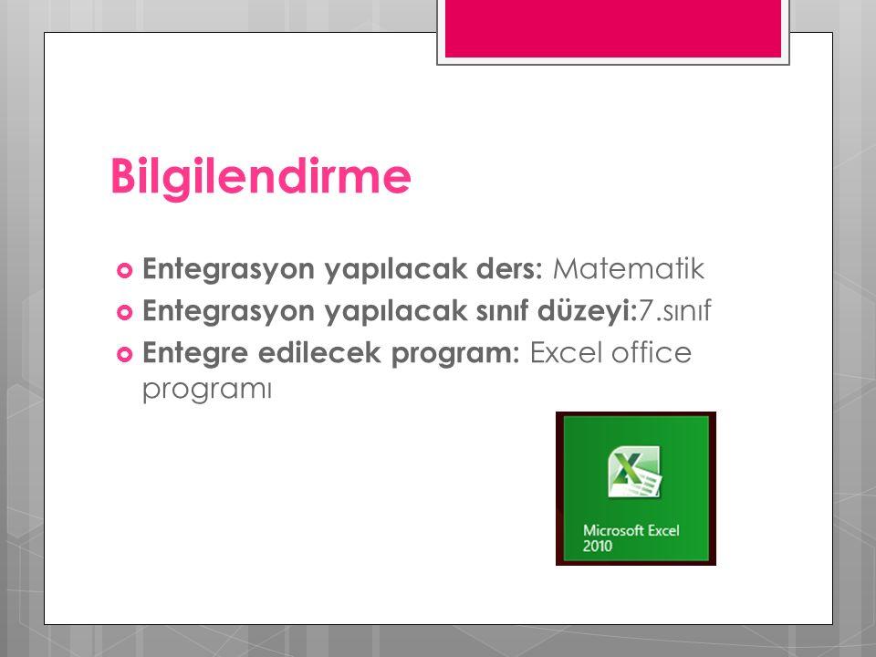 Bilgilendirme  Entegrasyon yapılacak ders: Matematik  Entegrasyon yapılacak sınıf düzeyi: 7.sınıf  Entegre edilecek program: Excel office programı