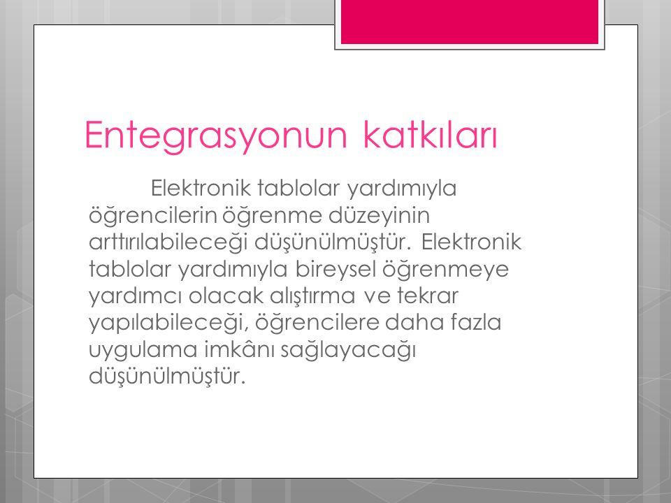 Entegrasyonun katkıları Elektronik tablolar yardımıyla öğrencilerin öğrenme düzeyinin arttırılabileceği düşünülmüştür.