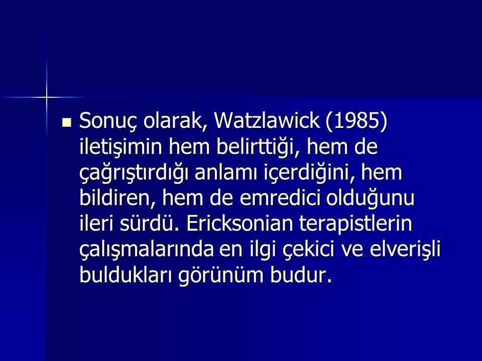 Sonuç olarak, Watzlawick (1985) iletişimin hem belirttiği, hem de çağrıştırdığı anlamı içerdiğini, hem bildiren, hem de emredici olduğunu ileri sürdü.