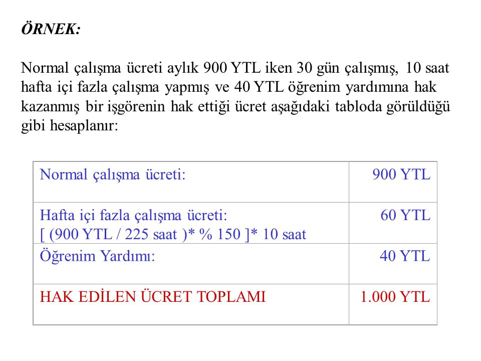 ÖRNEK: Normal çalışma ücreti aylık 900 YTL iken 30 gün çalışmış, 10 saat hafta içi fazla çalışma yapmış ve 40 YTL öğrenim yardımına hak kazanmış bir işgörenin hak ettiği ücret aşağıdaki tabloda görüldüğü gibi hesaplanır: Normal çalışma ücreti:900 YTL Hafta içi fazla çalışma ücreti: [ (900 YTL / 225 saat )* % 150 ]* 10 saat 60 YTL Öğrenim Yardımı:40 YTL HAK EDİLEN ÜCRET TOPLAMI1.000 YTL