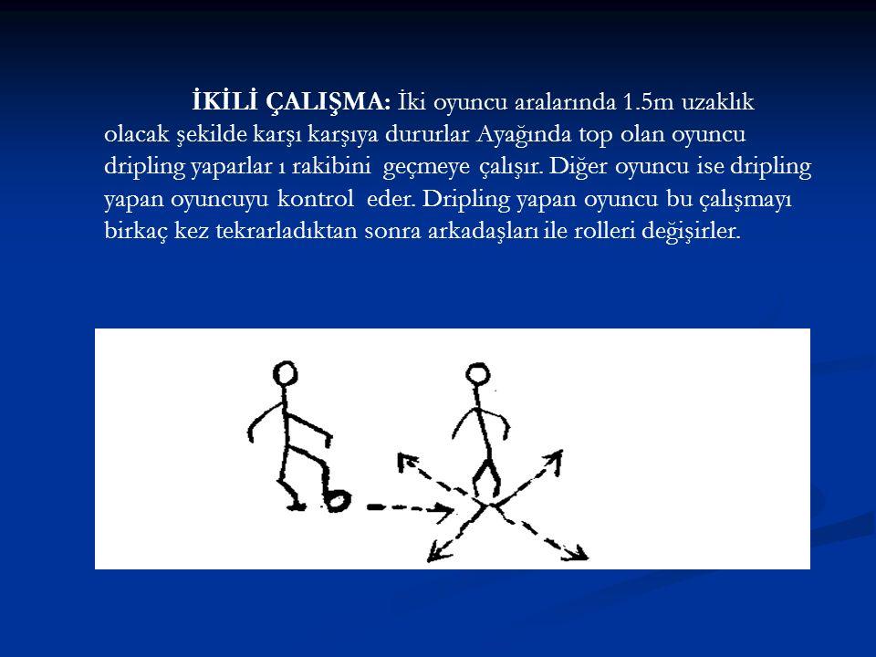 İKİLİ ÇALIŞMA: İki oyuncu aralarında 1.5m uzaklık olacak şekilde karşı karşıya dururlar Ayağında top olan oyuncu dripling yaparlar ı rakibini geçmeye