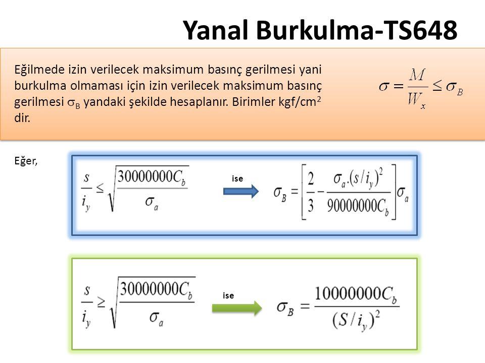 Yanal Burkulma-TS648 Eğer, ise Eğilmede izin verilecek maksimum basınç gerilmesi yani burkulma olmaması için izin verilecek maksimum basınç gerilmesi