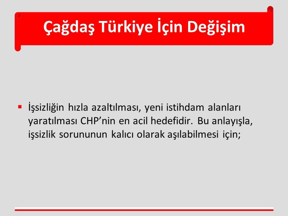 Çağdaş Türkiye İçin Değişim  İşsizliğin hızla azaltılması, yeni istihdam alanları yaratılması CHP'nin en acil hedefidir. Bu anlayışla, işsizlik sorun
